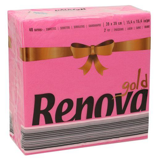 RENOVA servilletas rosas 2 capas 39x39 cm paquete 40 uds