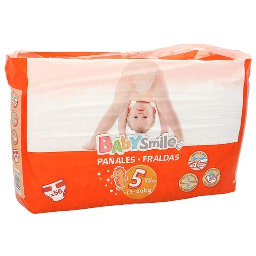 BABYSMILE pañales 13-20 kgs talla 5 paquete 56 uds