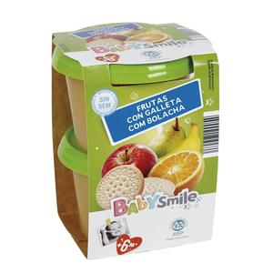 BABYSMILE frutas con galleta tarrito 2x200 gr