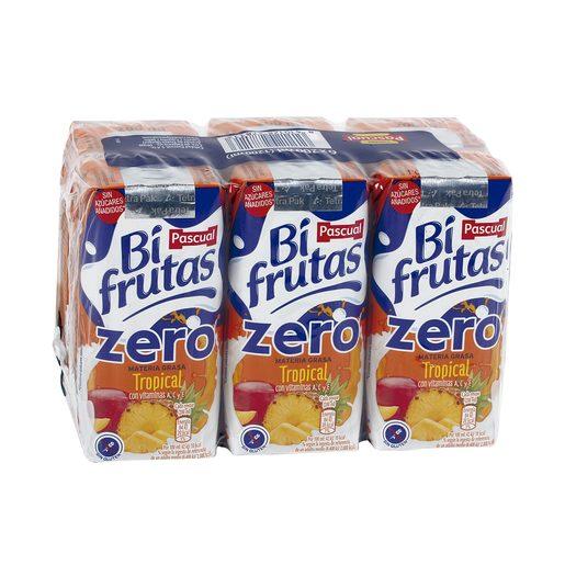 BIFRUTAS PASCUAL bebida con leche tropical zero pack 6 unidades 200 ml
