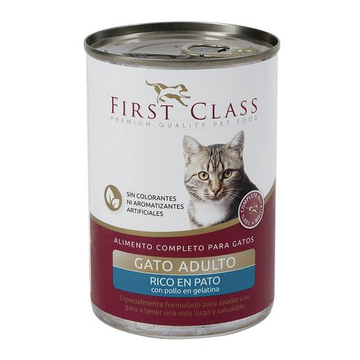 FIRST CLASS alimento para gatos en gelatina rico en pato con pollo 400 gr
