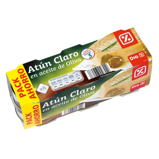 DIA atún claro en aceite de oliva pack 6 latas 52 gr