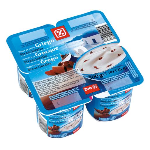 DIA yogur griego con straciatella pack 4 unidades 125 g