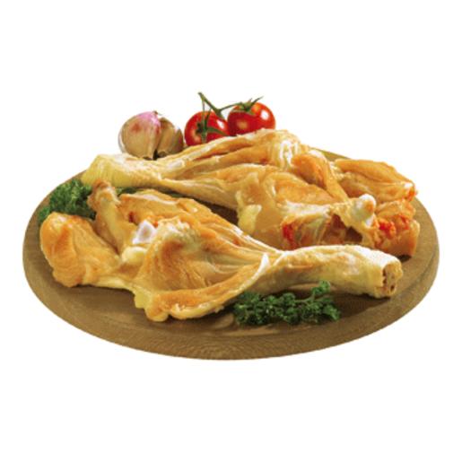 Muslos de pollo amarillo abiertos bandeja (peso aprox. 570 gr)