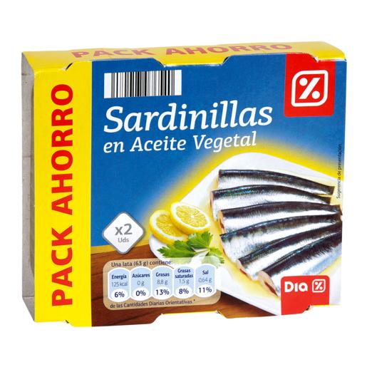DIA sardinilla en aceite vegetal pack de 2 latas de 63 grs