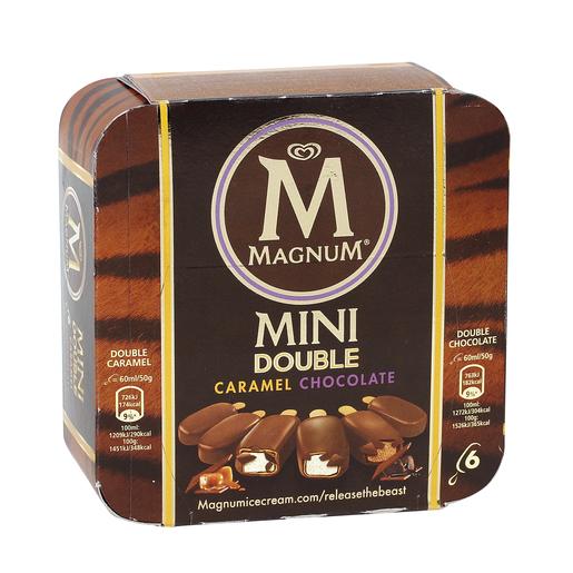 MAGNUM helado mini doble caramelo chocolate caja 6 uds 300 gr