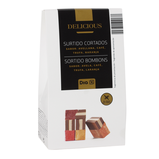 DIA DELICIOUS surtido de cortados avellana, trufa, café naranja caja 150 gr