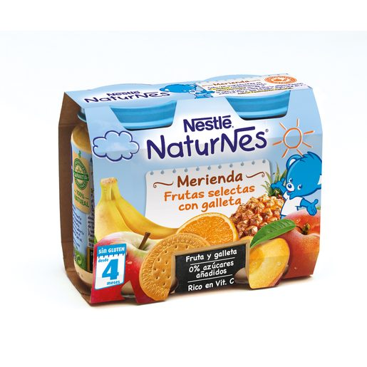 NESTLE Naturnes merienda frutas selectas con galleta sin gluten 2x200 gr