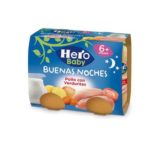 HERO Baby buenas noches pollo con verduritas tarrito 2x190 gr