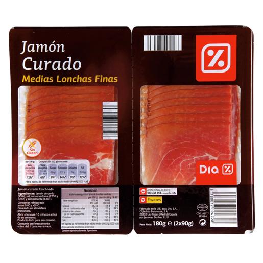 DIA jamón curado finas lonchas sobre 2 x 90 gr