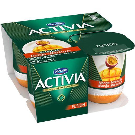 DANONE ACTIVIA bífidus fruitfusion mango y maracuya pack 4 unidades 125 gr