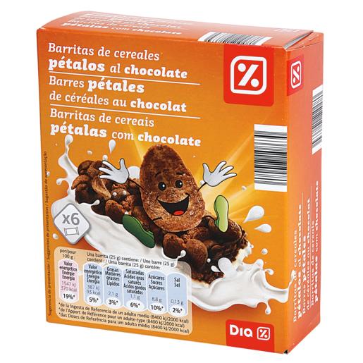 DIA barritas de cerales kid pétalos al chocolate estuche 6 x 25 gr