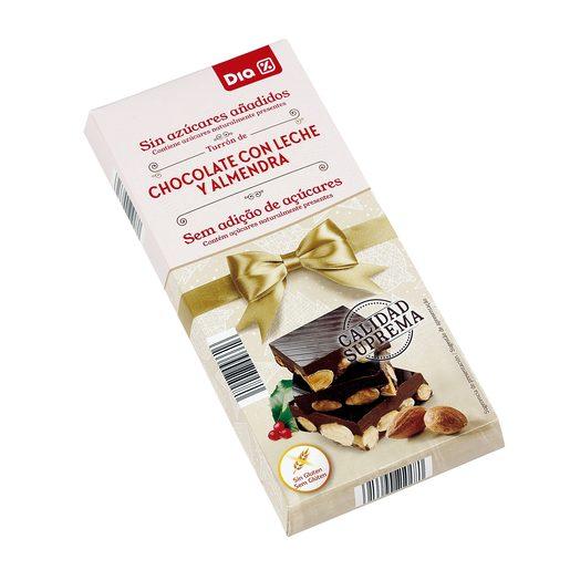 DIA turrón chocolate con almendras sin azúcar estuche 200 gr
