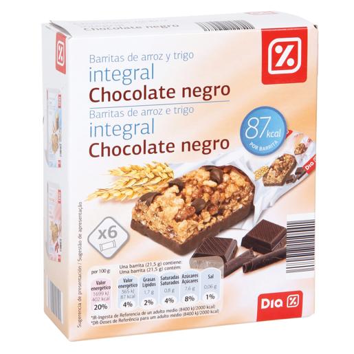 DIA barritas cereales integral chocolate negro caja 6 uds 129 gr