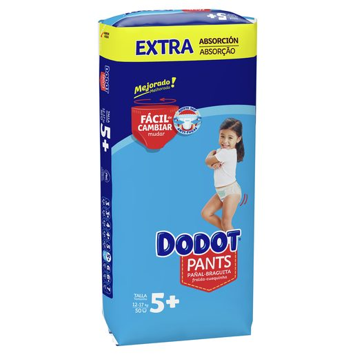DODOT Pants pañales 12-17 kg talla +5 paquete 50 uds