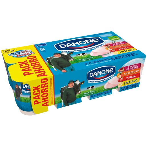 DANONE yogur sabor tarta de queso-macedonia-fresa-plátano pack 8 uds 125 gr