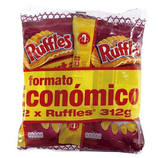 RUFFLES patatas fritas onduladas sabor a jamón bolsa 2 x 312 gr