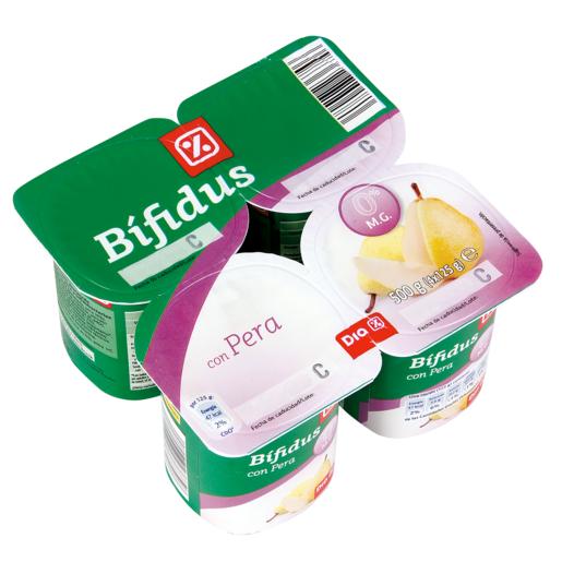 DIA yogur bífidus con pera 0% pack 4 unidades 125 g