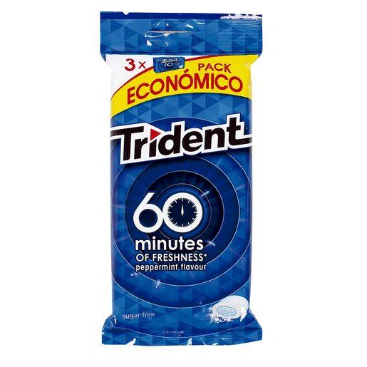 TRIDENT chicle 60 minutos sabor menta paquete 3 uds