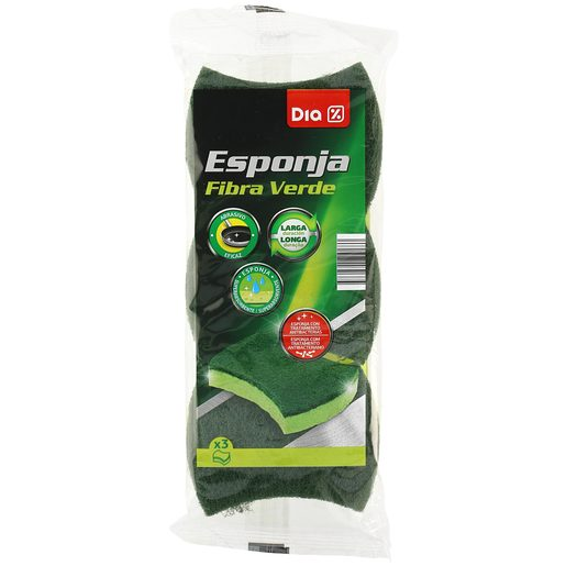 DIA esponja con fibra verde 3 uds