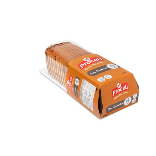 PROCELI pan de molde con semillas SIN GLUTEN envase 390 gr