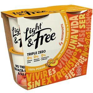 DANONE Light&free yogur con melocotón 0% M.G. pack 4 unidades 115 gr