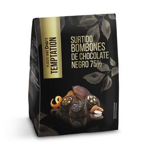 DIA TEMPTATION surtido de bombones chocolate negro 75% caja 180 gr